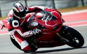Картинка трасса, мотоцикл, Ducati, мотоциклист, superbike, Дукати, 1199, Pinigale