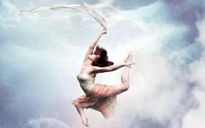 Обои небо, девушка, стиль, танец