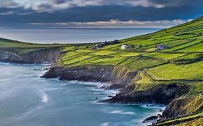 Обои море, дом, склон, Ирландия, поле, суффолк Керри