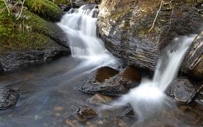 Картинка лес, река, камни, водопад, поток