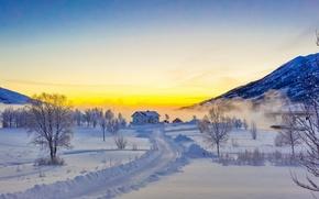 Картинка Лофотенские острова, Lofoten, снег, горы, зима, дорога, деревья, Norway, дом, Норвегия, закат