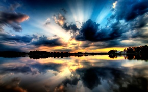 Обои небо, озеро, лес, закат