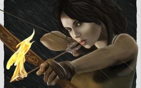 Картинка взгляд, девушка, лицо, оружие, огонь, узор, волосы, игра, лук, арт, стрела, Tomb Raider, Lara Croft