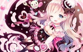 Картинка девочка, сладости, леденцы, медвежонок, принцесса, волшебница, длинные волосы, art, подмигивание, wasabi, оборки, полосатые чулки