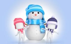 Картинка рендеринг, снеговик, christmas, new year, winter, snow, cute, snowman, kids