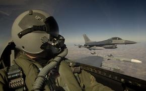 Обои кабина, шлем, военный, обои, пилот, авиация, лётчик, небо, wallpaper, самолёт, облака