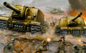 Картинка война, обои, атака, ИСУ-152, зверобой