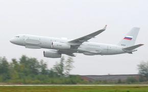 Обои крылья, Полёт, самолёт, аэродром, взлёт, двигатели, Туполев, низкий, ВПП, Ту-214