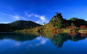 Обои озеро, вода, отражение, лес, япония