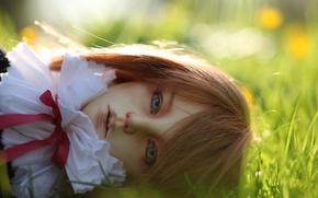 Картинка трава, кукла, голубые глаза, doll, BJD, шарнирная кукла