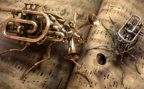 Обои Музыка, ноты, инструменты