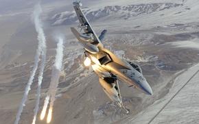 Обои EA-18G, f-18, выстрел, flares, Growler, полёт, hornet, истребитель