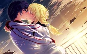 Обои аниме, девушка, парень. поцелуй