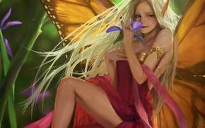 Картинка цветок, девушка, крылья, фея, арт