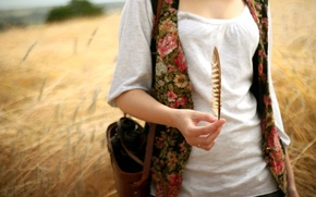 Картинка поле, девушка, перо