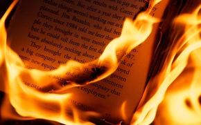 Картинка макро, буквы, огонь, листы, книга, Разное, плмя