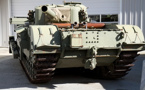Картинка танк, британский, тяжелый, WW2, дульнозарядная мортира, калибра 290 мм, Churchill AVRE
