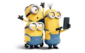 Картинка трое, Minions, Миньоны, мультфильм, белый фон, комбинезон, желтые, очки, перчатки