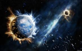 Обои звезды, взрыв, планеты
