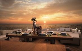 Картинка закат, океан, вечер, яхта, палуба, ужин