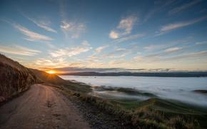 Картинка дорога, пейзаж, закат, горы