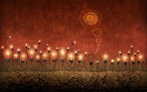 Картинка солнце, свет, красный, корни, люди, десктоп, светило, гений, антисоциальный, мысли, альтруизм, жертва, толпа