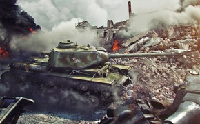 Картинка город, огонь, война, танк, руины, танки, world of tanks, квас, wot, кв-1с