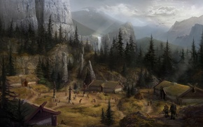 Картинка пейзаж, горы, фентези, водопад, дома, деревня, dragon age, concept art