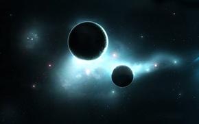Картинка звезды, туманность, планеты, свечение, satellite