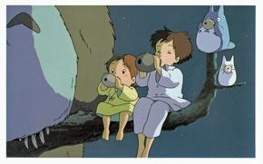 Картинка ночь, ветка, существо, пижама, сестры, мой сосед тоторо, art, tonari no totoro, hayao miyazaki, satsuki …