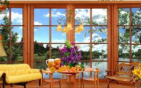 Картинка облака, природа, комната, интерьер, Дом, окно, квартира, яблоня, веранда