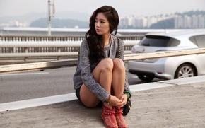 Картинка дорога, авто, девушка, модель, актриса, азиатка, k-pop, Южная корея, Lee Clara