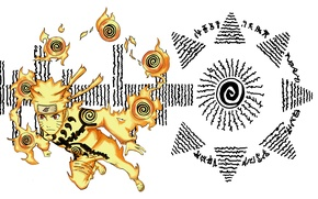 Картинка naruto, art, uzumaki naruto, nine tails chakra mode, Hakke no Fūin Shiki