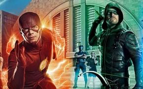 Обои yuusha, Legends of Tomorrow, DC Universe, wide poster, crossover, girl, hero, Super Girl, Arrow, The ...