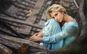 Обои Алиса Тарасенко, платье, блондинка, девушка, лодка, поза