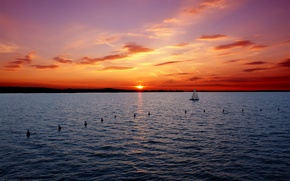 Картинка море, закат, яхта