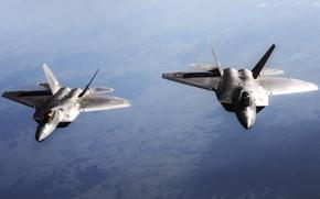 Картинка небо, истребители, самолёты, ВВС США, F-22 Raptor, пятого поколения, многоцелевые, F-22 «Раптор»