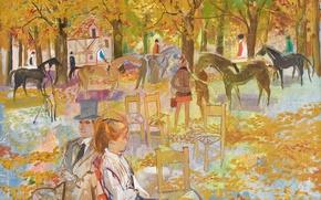Картинка осень, деревья, парк, люди, картина, лошади, городской пейзаж, Emilio Grau Sala