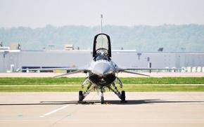 Картинка Истребитель, самолёт, аэродром, f-16, Ф-16, fighting falcon