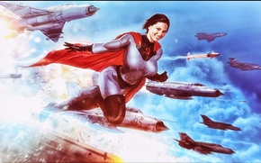 Картинка небо, девушка, фантастика, самолеты, костюм, плащ, superwoman, Soviet-Superwoman