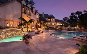 Картинка цветы, дизайн, огни, дом, пальмы, вечер, бассейн, Вилла, особняк