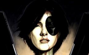 Картинка оружие, лицо, Marvel Comics, девушка, Domino