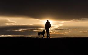 Картинка закат, человек, собака, Portland, Maine, Sumner Park, The Touch