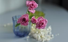 Картинка цветы, розы, ваза, розовые