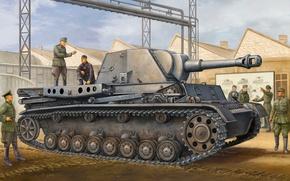 Картинка war, art, painting, tank, ww2, German GW IVb (Grasshopper) leFH18/1 L28
