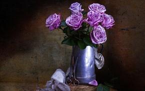 Картинка цветы, стиль, розы, винтаж, ножницы