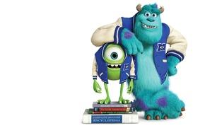 Картинка синий, зеленый, улыбка, рога, учебники, одноглазый, Monsters University, Inc., Корпорация монстров, Университет монстров, Monsters