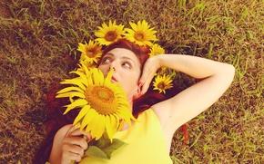 Картинка girl, summer, dress, sunflowers