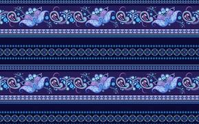 Обои орнамент, узор, синий, полосы