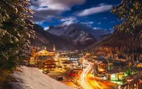 Картинка зима, снег, ночь, огни, дома, Италия, курорт, Январь, коммуна Канацеи